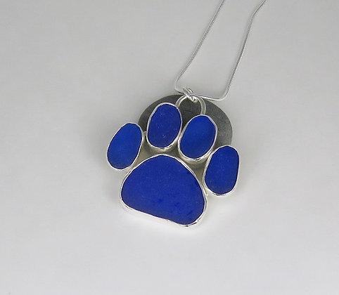 5012. Cobalt Blue Dog Paw Print SeaGlass Pendant