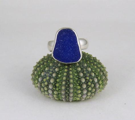 647. Cobalt Blue Sea Glass Ring