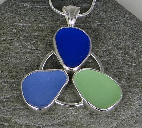 568. Cobalt, Cornflower and Seafoam Sea Glass Pendant