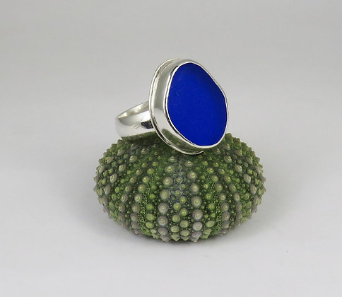 635. Cobalt Blue Sea Glass Ring