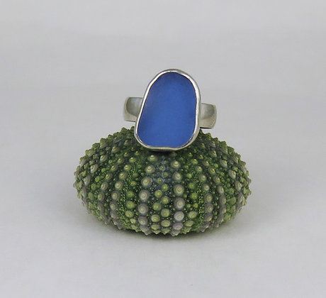 614. Cornflower Blue Sea Glass Ring