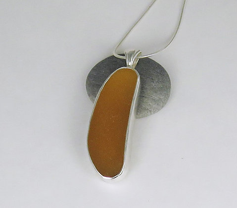 538. Honey Amber Sea Glass Pendant