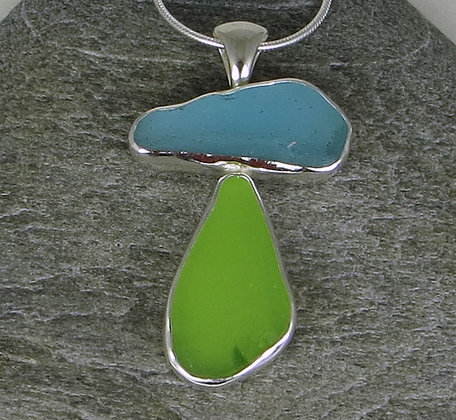573. Aqua and Lime Green Sea Glass Pendant