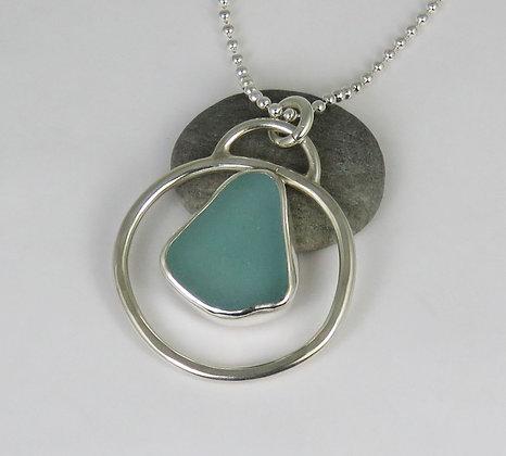 502. Aqua Sea Glass Pendant