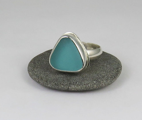 651. Aqua Sea Glass Ring