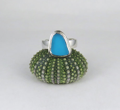 613. Turquoise Sea Glass Ring