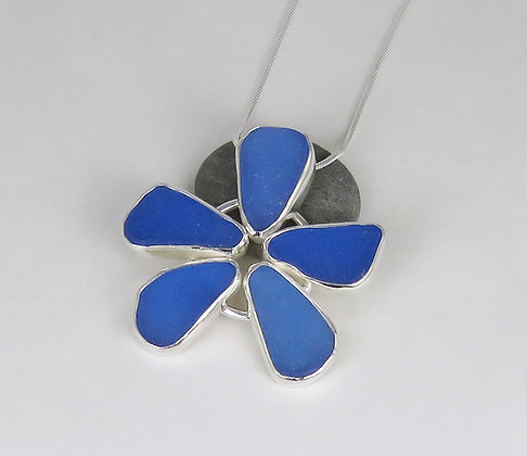 572. Cornflower Blue Sea Glass Flower Pendant