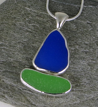 557. Blue and Green Sea Glass Sailboat Pendant