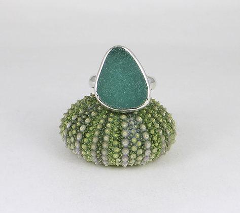 686. Dark Aqua/Teal Sea Glass Ring