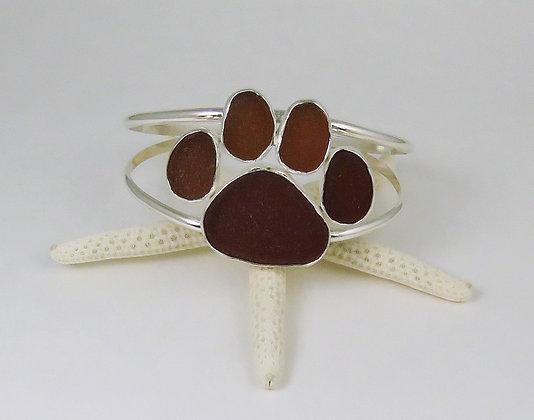 901. Dog Paw Print Sea Glass Bracelet