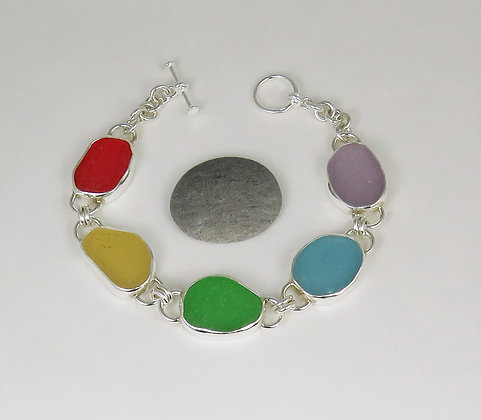 905. Rainbow Sea Glass Bracelet