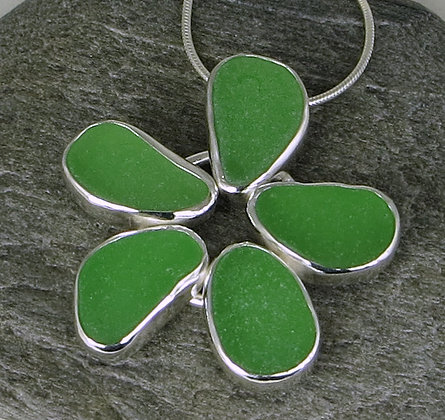 522. Bright Green Sea Glass Flower Pendant