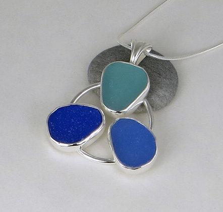 518. Cobalt, Cornflower and Aqua Sea Glass Pendant