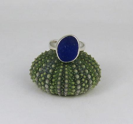 627. Cobalt Blue Sea Glass Ring