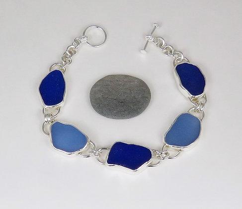 906. Blue Sea Glass Bracelet