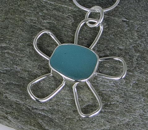 536. Bright Aqua Sea Glass Flower Pendant
