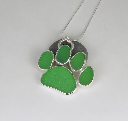598. Green Dog Paw Print Sea Glass Pendant