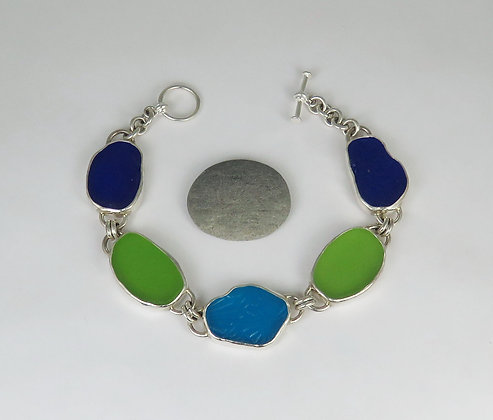 903. Cobalt, Lime and Turquoise Sea Glass Bracelet