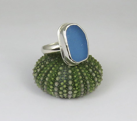 650. Cornflower Blue Sea Glass Ring
