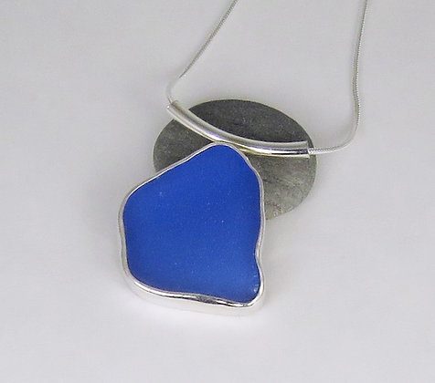513. Cornflower Blue Sea Glass Pendant