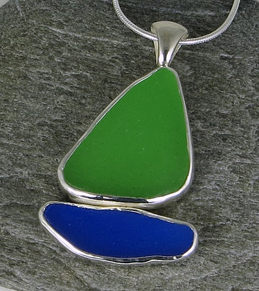 529. Blue and Green Sea Glass Sailboat Pendant