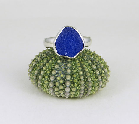 673. Cobalt Blue Sea Glass Ring