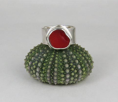 615. Cherry Red UV Sea Glass Ring
