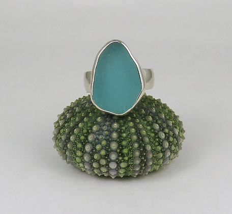 634. Aqua Sea Glass Ring
