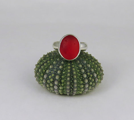 610. Cherry Red UV Sea Glass Ring