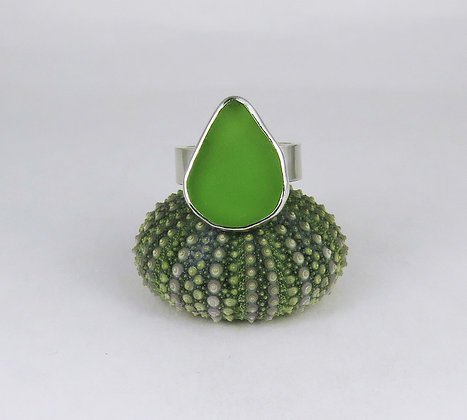 620.  Bright Lime Green Sea Glass Ring