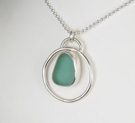 520. Aqua Sea Glass Pendant
