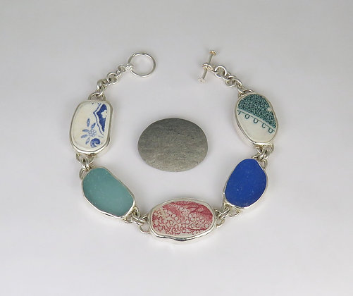 902. Sea Glass and Pottery Bracelet