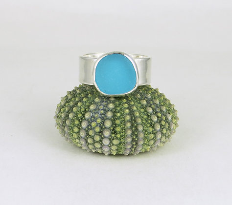 675. Turquoise Sea Glass Ring