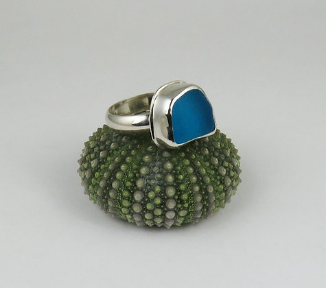 624. Turquoise Sea Glass Ring