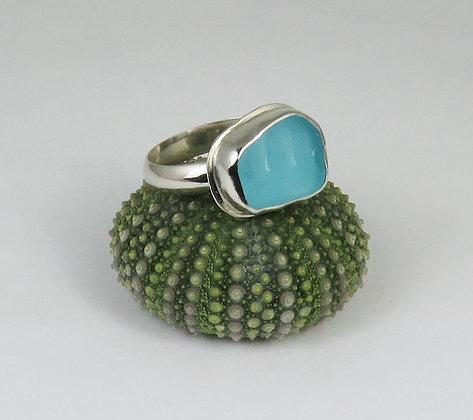 649. Bright Aqua Sea Glass Ring