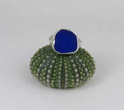 609. Cobalt Blue Sea Glass Ring