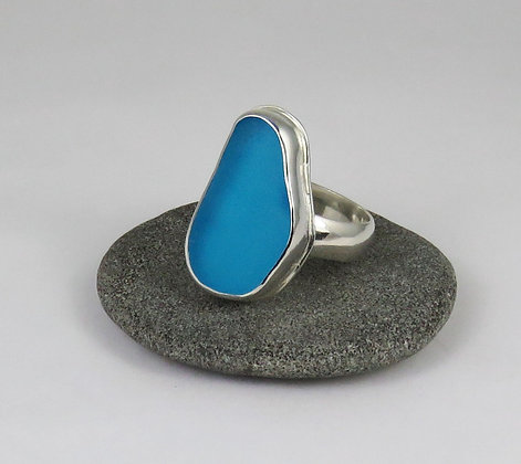 638. Turquoise Sea Glass Ring