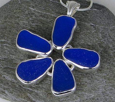 510. Cobalt Blue Sea Glass Flower Pendant