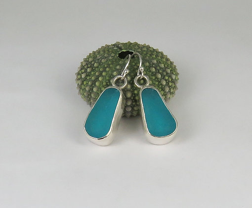 104. Deep Turquoise Sea Glass Earrings