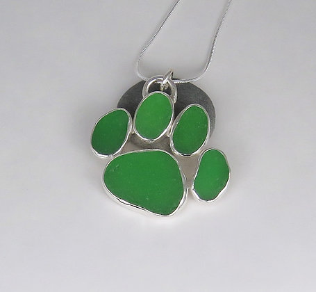 5002. Green Dog Paw Print Sea Glass Pendant