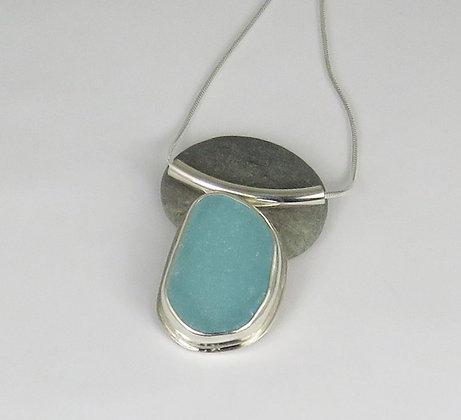 503. Aqua Sea Glass Pendant