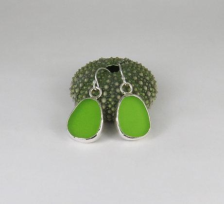 120. Bright Lime Green Sea Glass Earrings