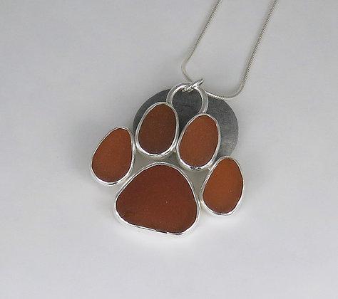 5013. Amber Brown Dog Paw Print Sea Glass Pendant