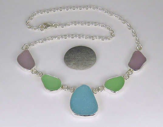 587. Pastel Sea Glass Necklace