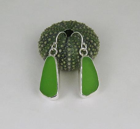 105. Lime Green Sea Glass Earrings