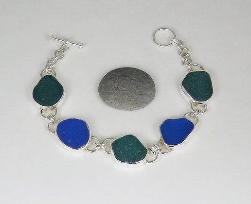 904. Blue and Teal Sea Glass Bracelet