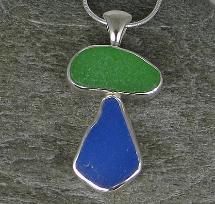 581. Green and Blue Sea Glass Pendant
