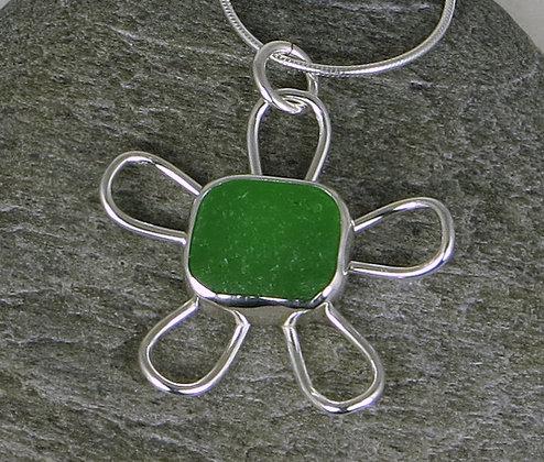 541. Bright Green Sea Glass Flower Pendant