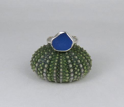 606. Cornflower Blue Sea Glass Ring