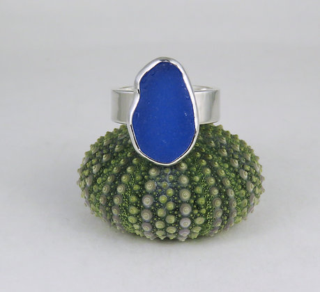 661. Cornflower Blue Sea Glass Ring